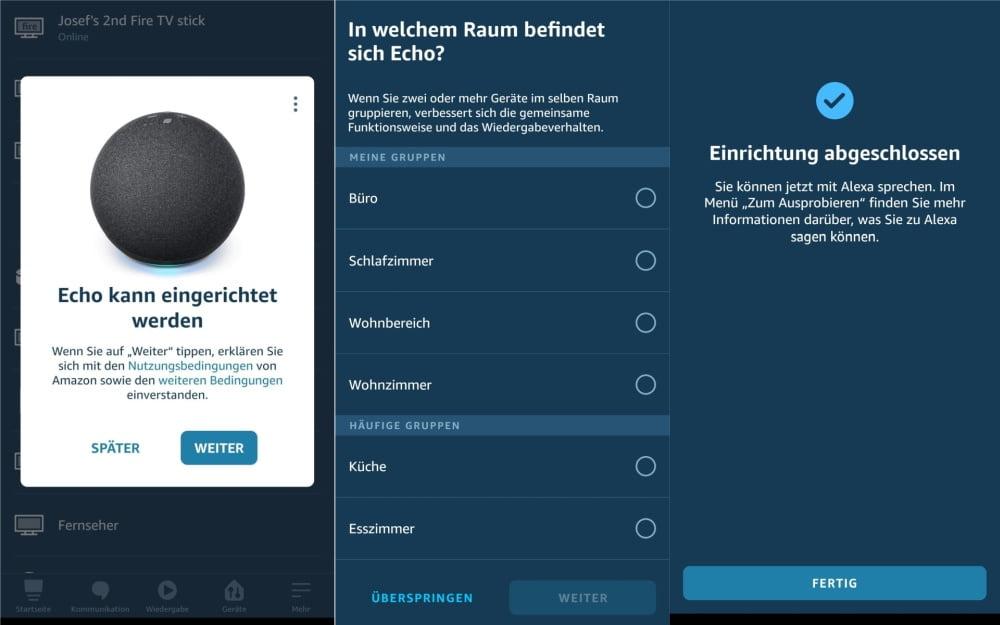 Screenshots aus der Alexa App, die das Einrichten eines Echo-Geräts zeigen.