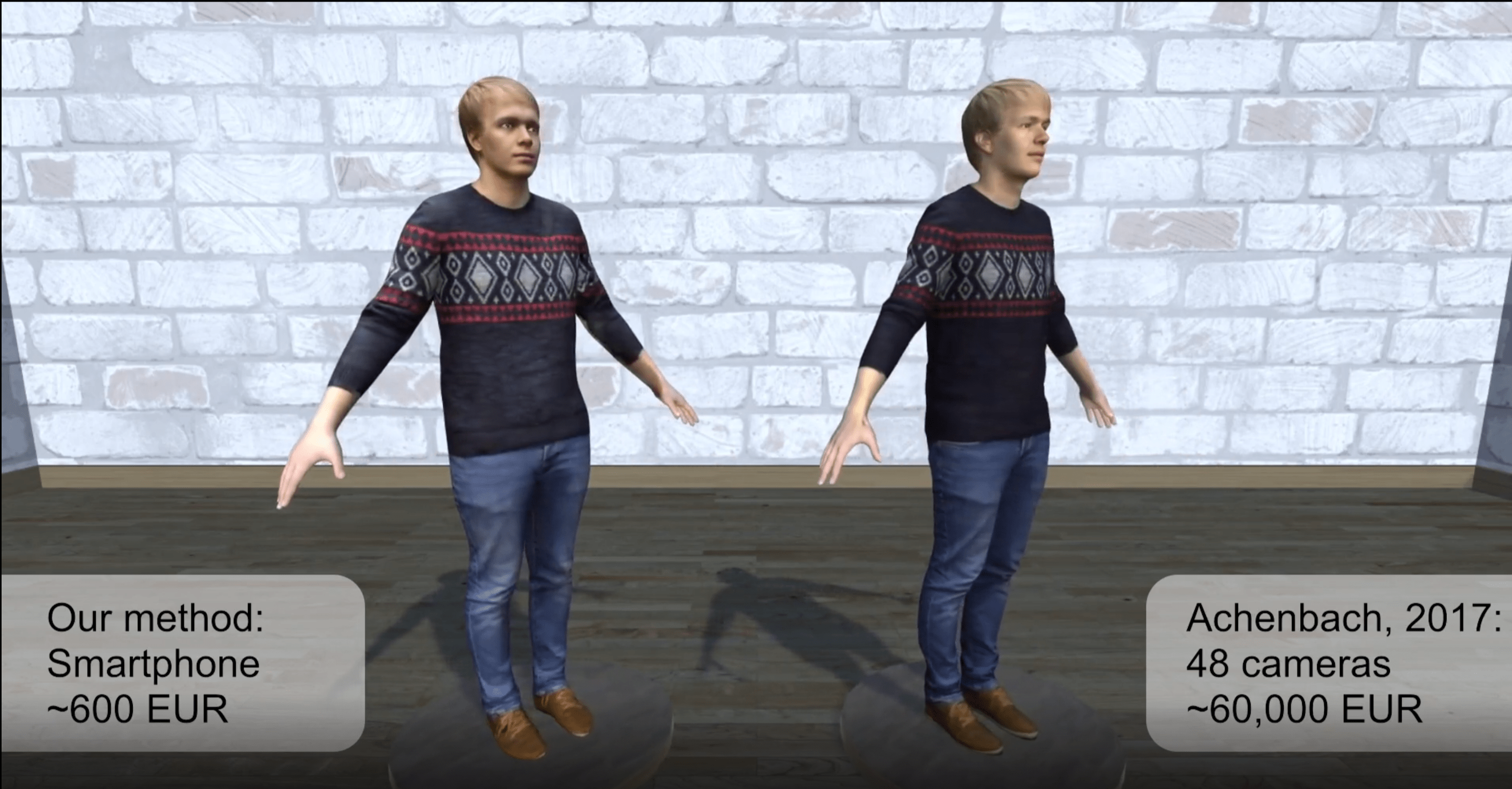 Ein Vergleich von zwei 3D-Avataren die mit unterschiedlichen Systemen erstellt wurden.