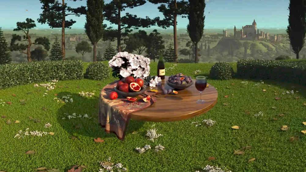 Magischer Garten mit Tisch, Obst und Wein aus Magic Garden für Virtual Reality