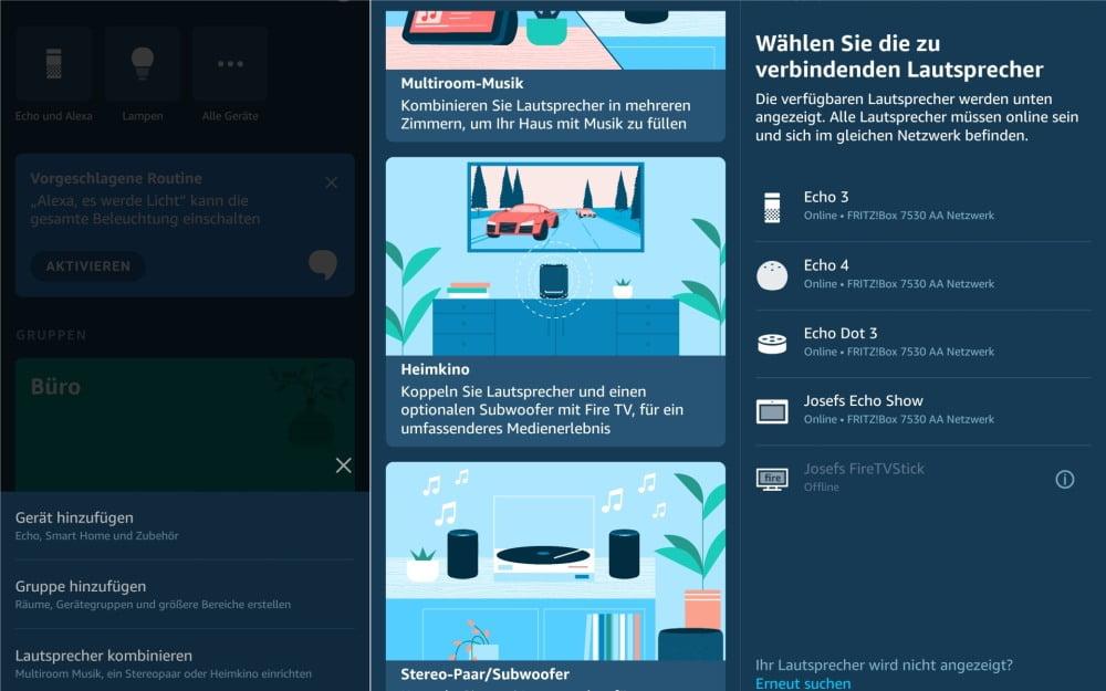 Screenshots aus der Alexa App, die das Einrichten der Multiroom-Musikwiedergabe zeigen.