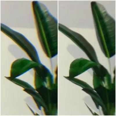 Links ein Beispiel für chromatische Aberration, rechts das korrigierte Bild in einer HP Reverb G2. | Bild: Microsoft