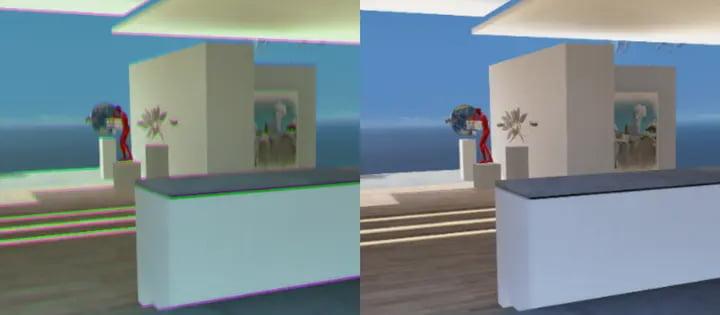 Das linke Bild zeigt einen simulierten Lichtleck-Effekt. Auf der rechten Seite ist die neue Microsoft-Korrektur aktiv: Der Farbstich wird entfernt und das Bild ist insgesamt schärfer. | Bild: Microsoft