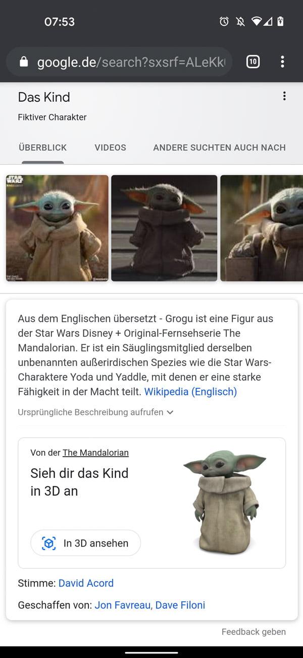 """Sucht nach """"Baby Yoda"""", """"Grogu"""" oder """"Das Kind"""", um euch den Serienstar in Originalgröße digital in eure eigenen vier Wände einzladen.   Bild: Eigener Screenshot"""