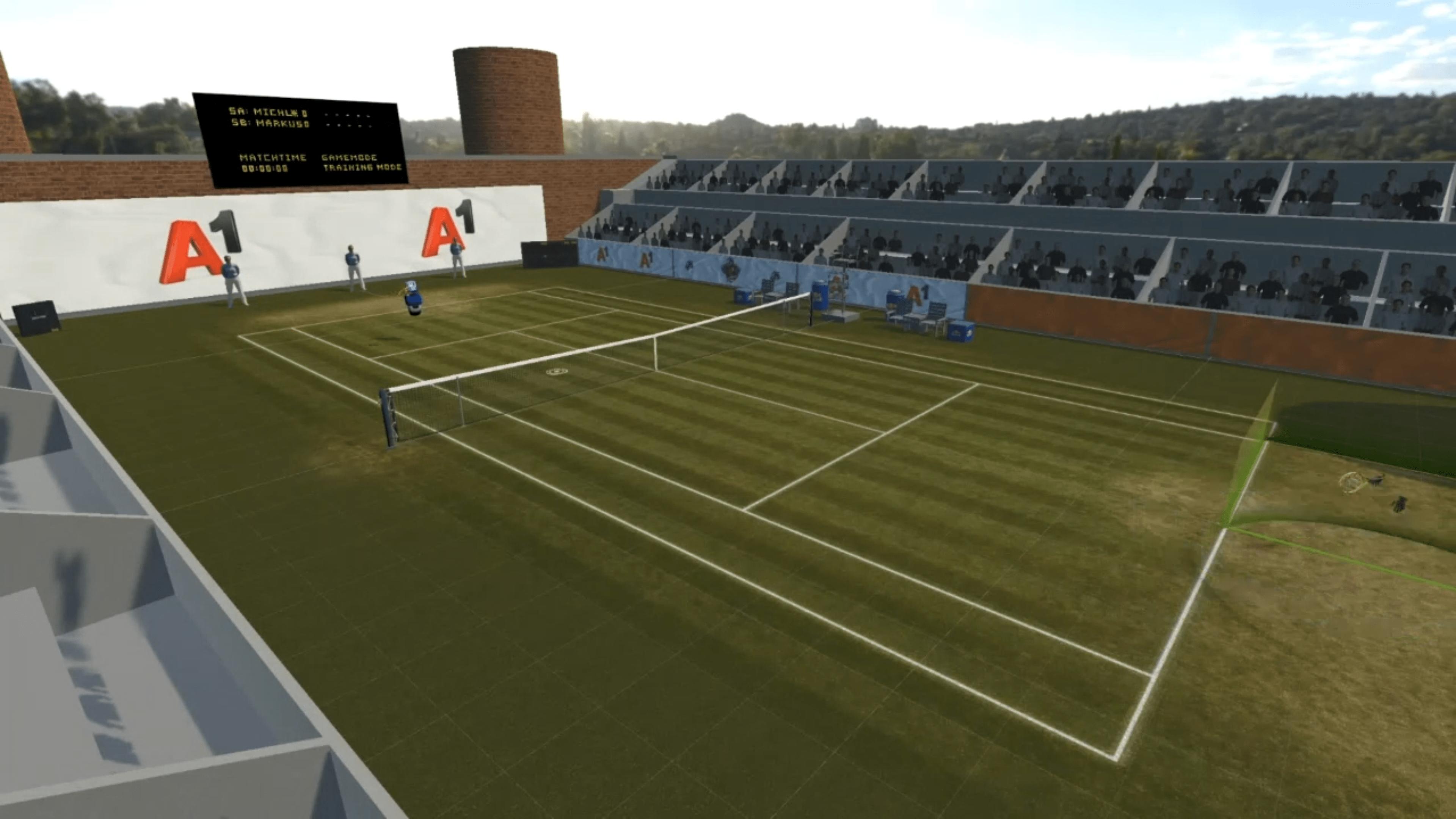 Ein virtueller Tennisplatz der VR-App Tennis eSports