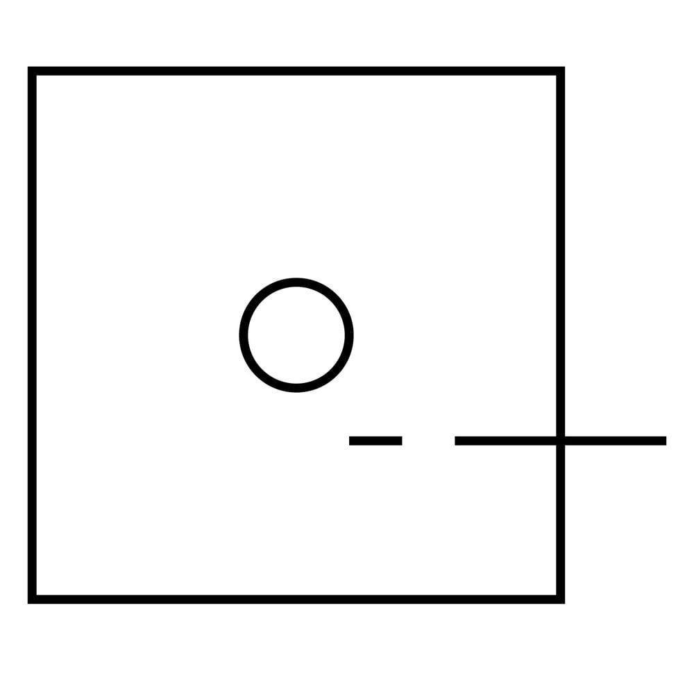 Quadrat mit Kreis in der Mitte zu einer unterbrochenen Linie