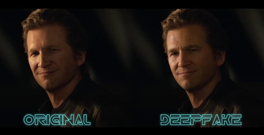 Tron Legacy Deepfake und digitaler Avatar im Vergleich