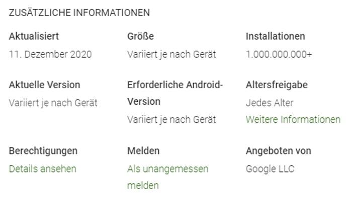 Eine Milliarde Android-Smartphones laufen mit Googles AR-Software, dennoch ist noch Luft nach oben. Apps wie Google Maps sind deutlich weiter verbreitet. | Bild: Eigener Screenshot / Play Store