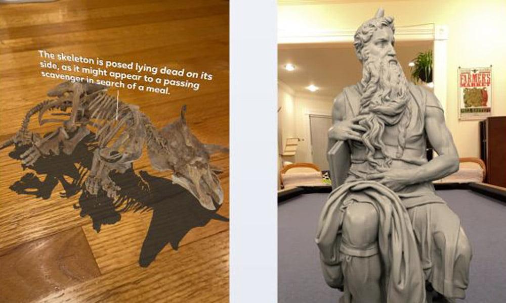 Zwei digitale 3D-Ausstellungsstücke in einer realen Umgebung