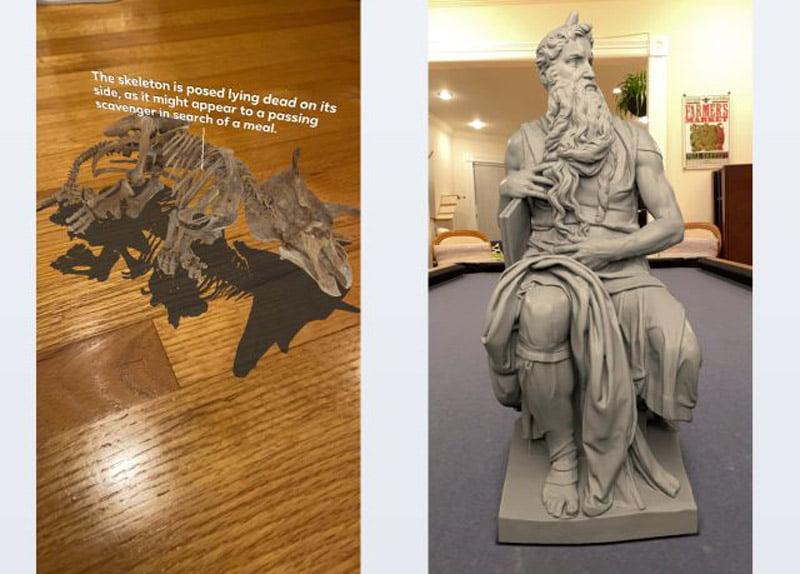 Zwei der 3D-Ausstellungsstücke, die per Instagram AR in Originalgröße in die eigene Umgebung projiziert werden können. | Bild: Facebook