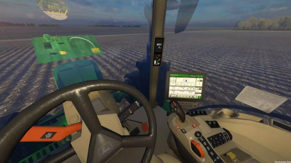 Das virtuelle Cockpit eines Traktors mit Lenkrad