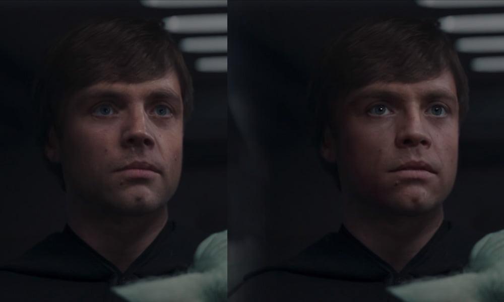 Links ist Disneys CGI-Luke, rechts die Deepfake-Variante, die mehr Details bietet und eine glaubhaftere Augenpartie. Sie war keine drei Tage in der Mache. | Bild: Shamook