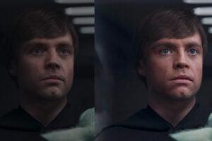 Zwei Versionen des jungen Luke Skywalker, einmal Disney CGI, einmal per Deepfake.