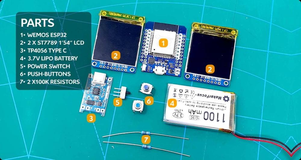 """Elektronische Bauteile, die zur Herstellung der Open-Source-AR-Brille """"cheApR""""benötigt werden."""