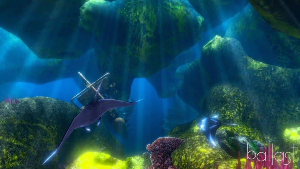 Ein Screenshot aus dem VR-Erlebnis OceanDIVR zeigt einen Mantisrochen im Ozean.