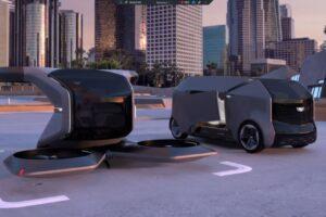 Zwei Konzepte von General Motors für elektrisch betriebene und autonome Taxis.