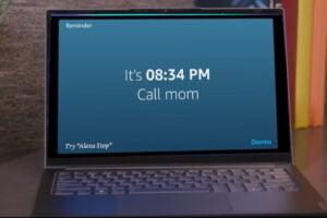 Ein Lenovo Tablet auf dem der Alexa Show Mode läuft.