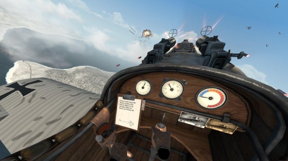 Warplanes_WW1 Fighters_Oculus_Quest_Cockpit_und_Steuerknüppel
