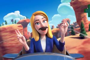 Eine digitale Frau mit Schnurrbart sitzt in einem Flugzeug