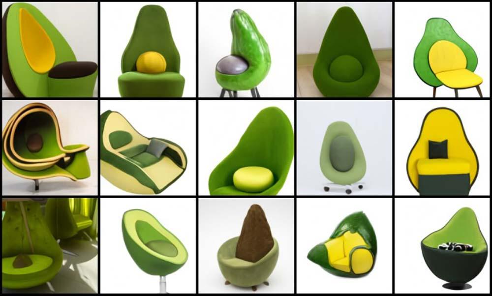 KI-generierte Bilder eines Sessels in Avocado-Form.
