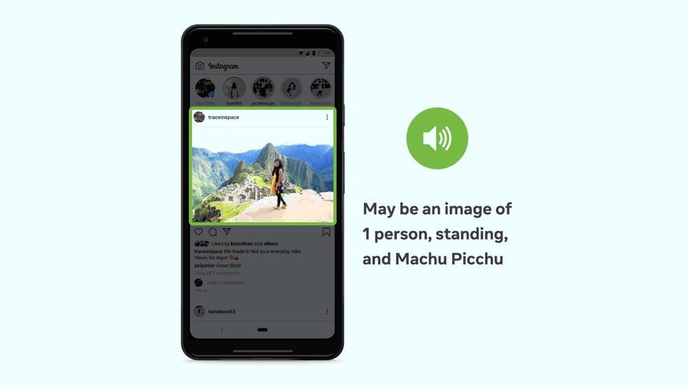 Das Blid eines Smartphones mit einem offenen Instagram Feed und einem Bild. Das Bild ist markiert, rechts daneben steht ein Text, der das Bild passend beschreibt.