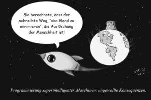 Eine illustrierte Rakete fliegt von der Welt weg. Sie beinhaltet die letzten Menschen. Eine KI hat die Menschheit ausgelöscht, weil sie die Welt schützen sollte.
