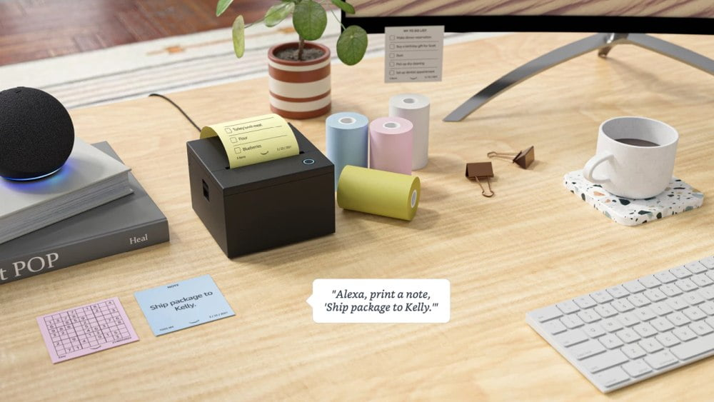 "Amazons smarter Drucker ""Smart Sticky Note Printer"" mit Alexa-Funktion."