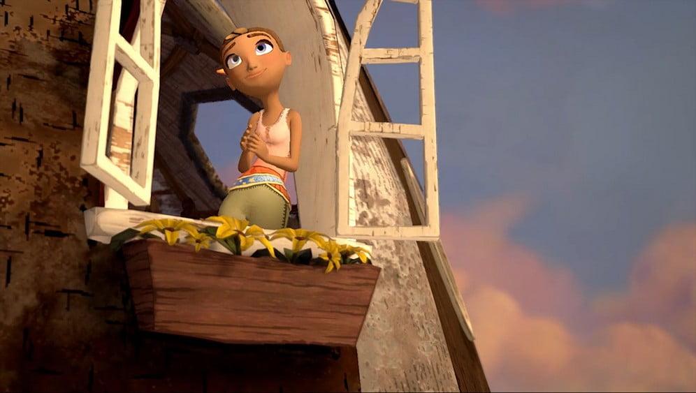 Arden's Wake: Meena schaut aus dem Fenster ihres Stelzenhauses.