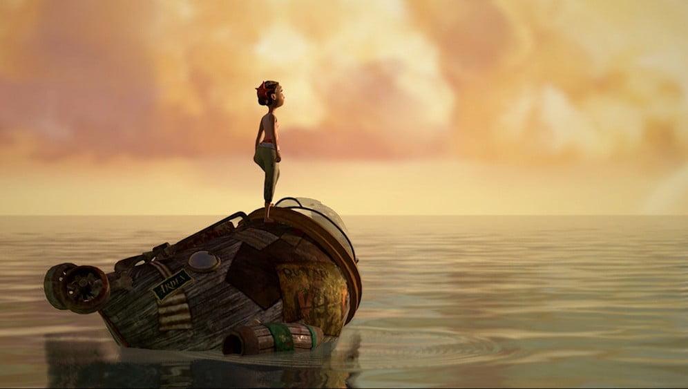 Arden's Wake: Meena steht auf ihrem U-Boot und sieht auf's Meer.