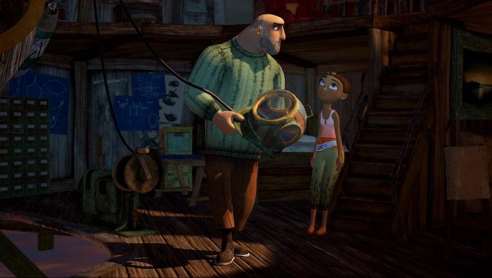 Arden's Wake: Vater spricht mit Meena und hält einen Taucherhelm in der Hand