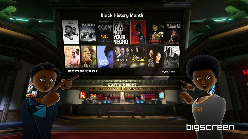 Bigscreen-Avatare vor Kinoleindwand mit 14 Film-Covers zum Black History Month