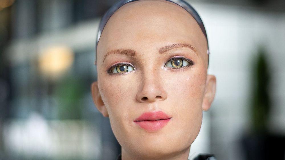 Gesicht der Roboterfrau Sophia von Hanson Robotics