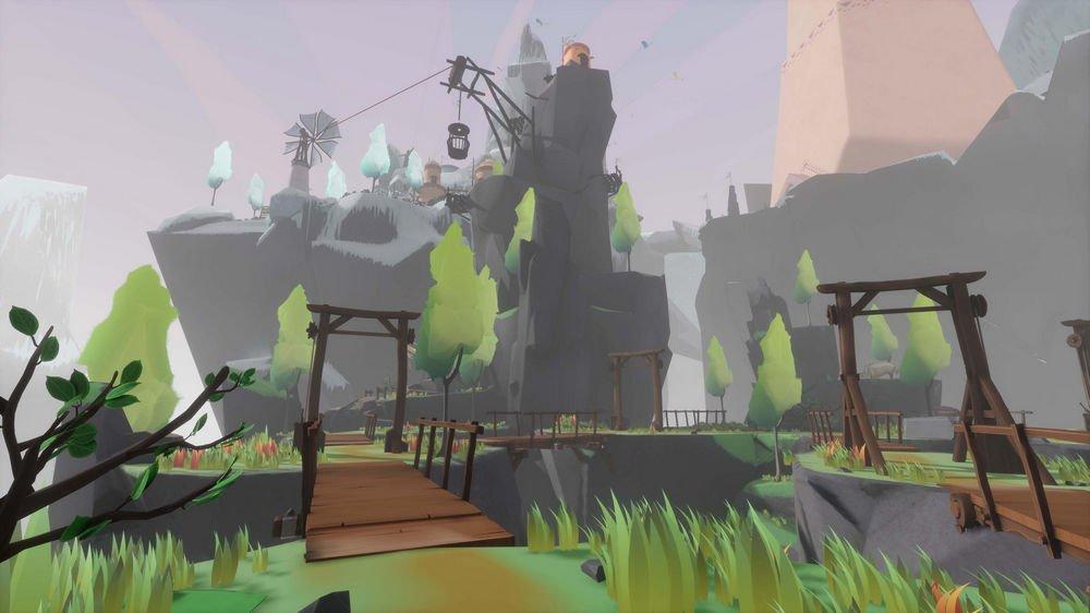 Grünes Level mit Bäumen, Brücken und im Hintergrund Gebäuden auf einem Berg in Maskmaker VR