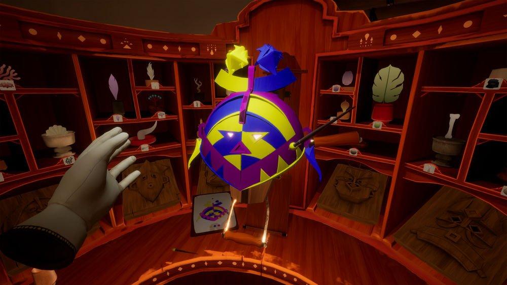 Bunte Maske in der Werkstatt des Maskenmachers in Maskmaker VR