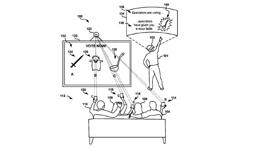 Patentskizze für einen interaktiven Zuschauermodus einer VR-Brille von Sony