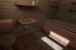 Ein Badezimmer in einem Videospiel