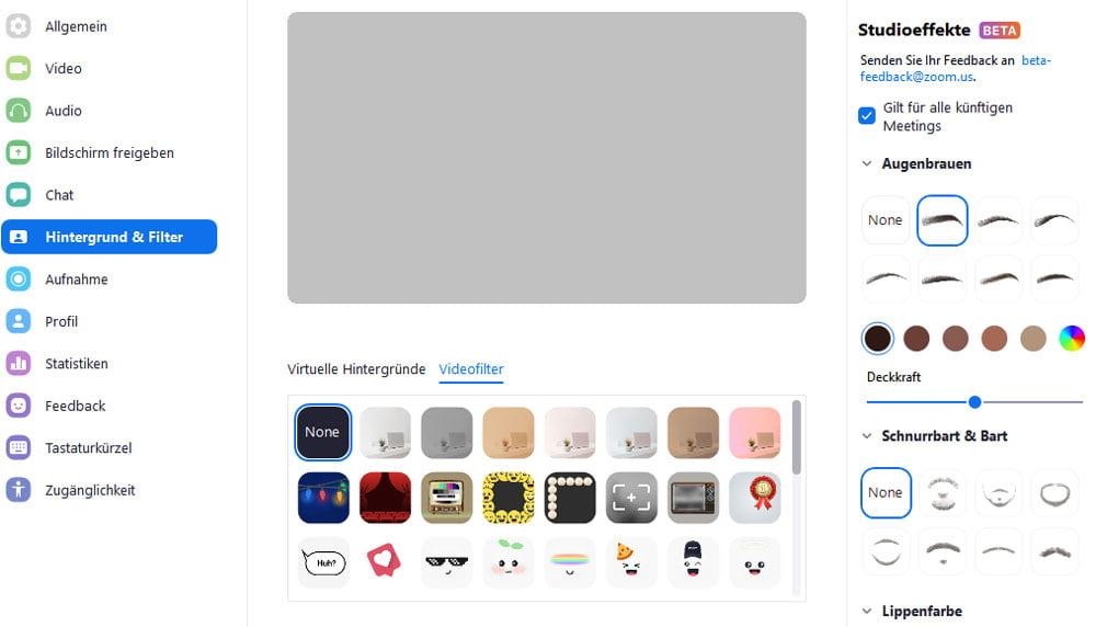 Zoom hat AR-Filter jetzt nativ integriert, sowohl in der albernen Variante als auch für digitales Make-up.   Bild: Eigener Screenshot
