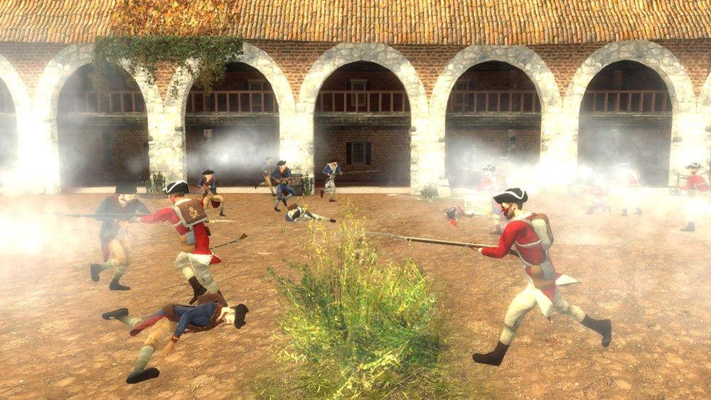 Pixelsoldaten stürmen aufeinander zu im amerikanischen Unabhängigkeitskrieg