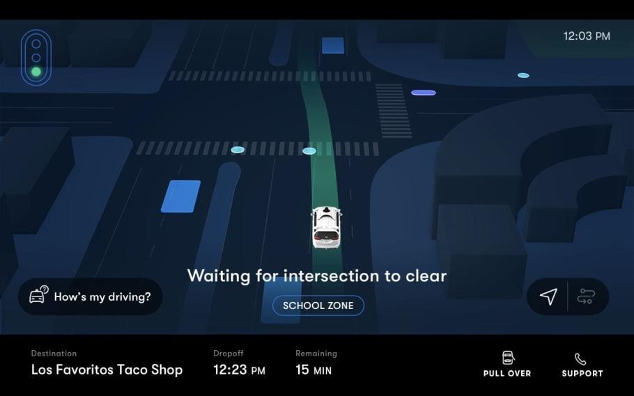 Anzeige eines Fahrgast-Displays in den Waymo One-Taxis.