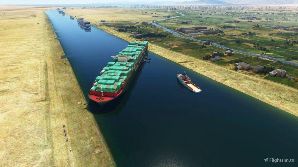 Containerschiff Ever Given im Suenzkanal im Flight Simulator 2020