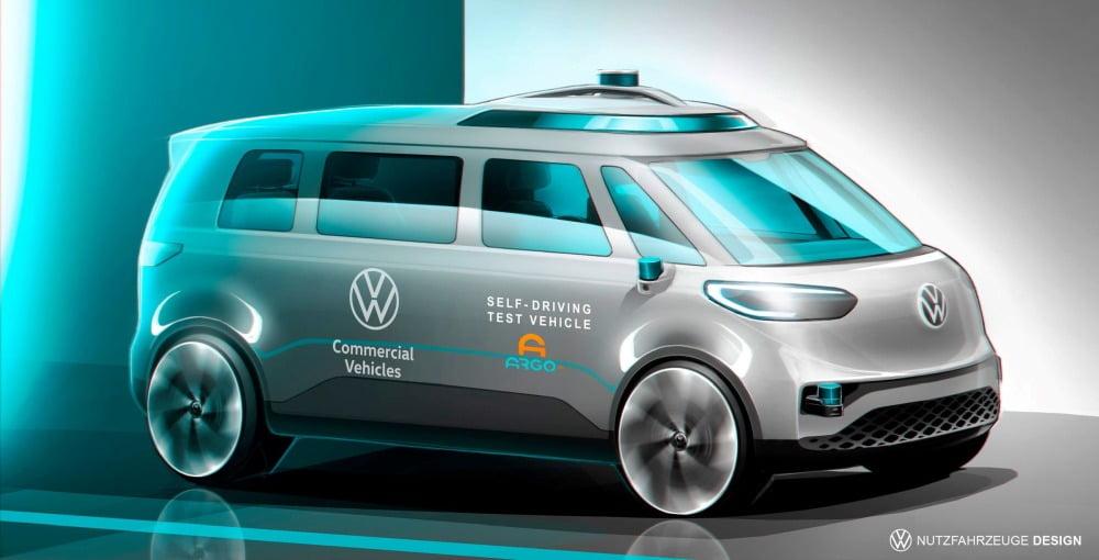 Das Concept Car ID. BUZZ von Volkswagen wird mit einem KI-System für autonomes Fahren von Argo AI ausgerüstet.
