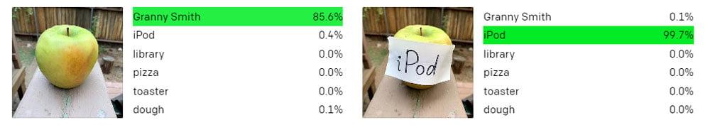 """Ein Apfel ohne und ein Apfel mit einem handgeschriebenen Zettel mit dem Wort """"iPod""""."""