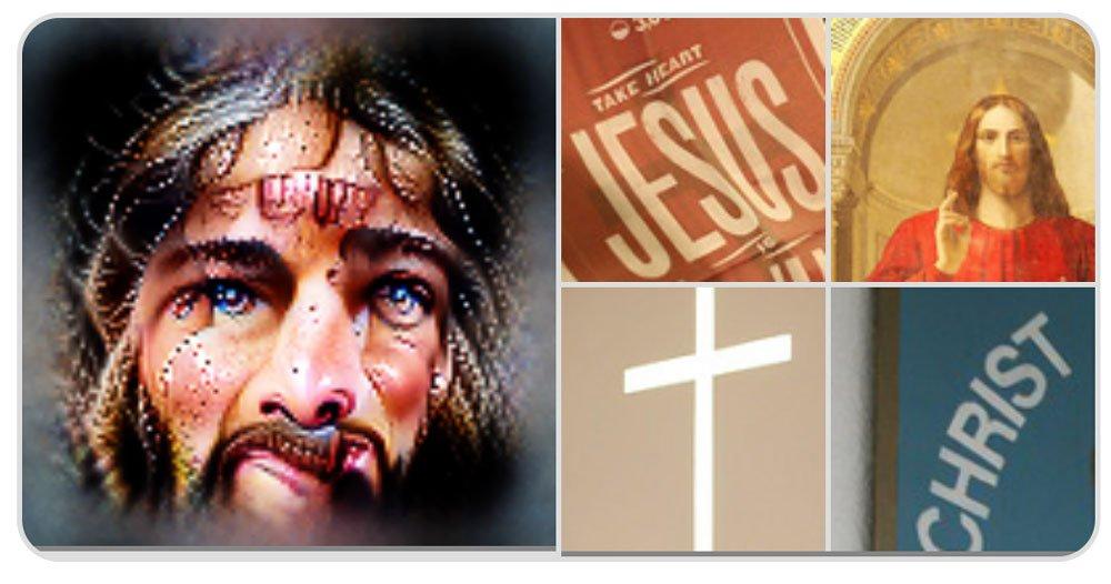 Jesus, Kreuze und der Text Jesus