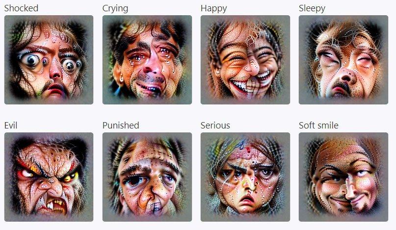 Generierte Bilder von emotionalen Gesichtern, die CLIPs Emotionsneuronen anregen