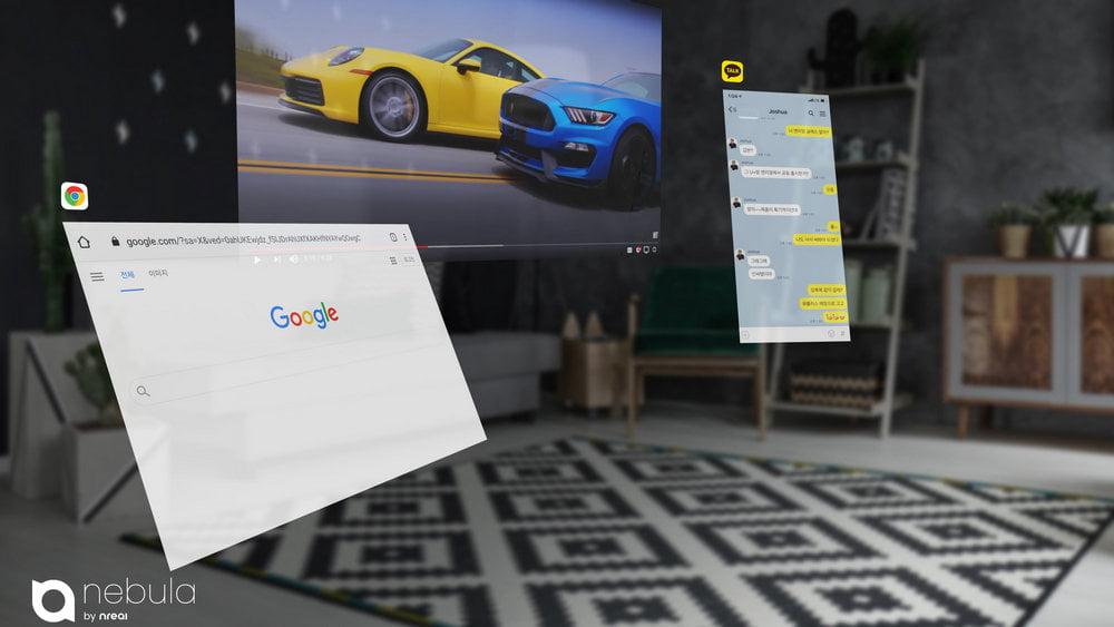 Mehrere virtuelle Bildschirme in einem Wohnraum