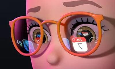 Der Kalender im Brillenglas - will uns Apple veräppeln oder steckt mehr dahinter?   Bild: Apple