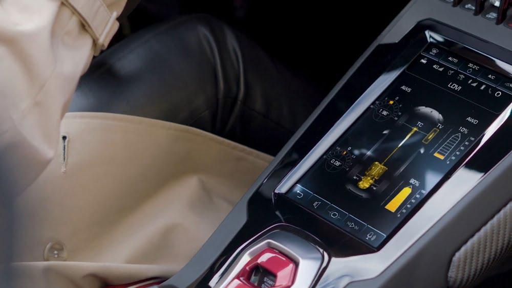 Der Dynamic Coordinator im Lamborghini Huracán zeigt Echtzeit-Infos über die Straßenlage des Flitzers an.