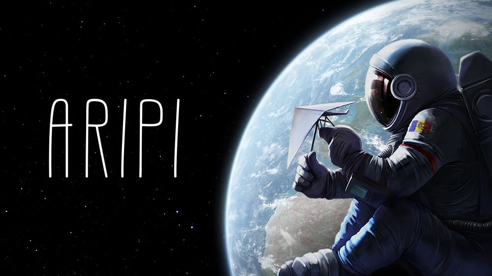 Astronaut vor Erdball in Animations-VR-Film Aripi