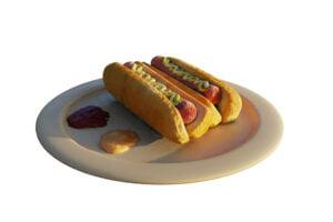 3D-Hotodogs auf einem Teller