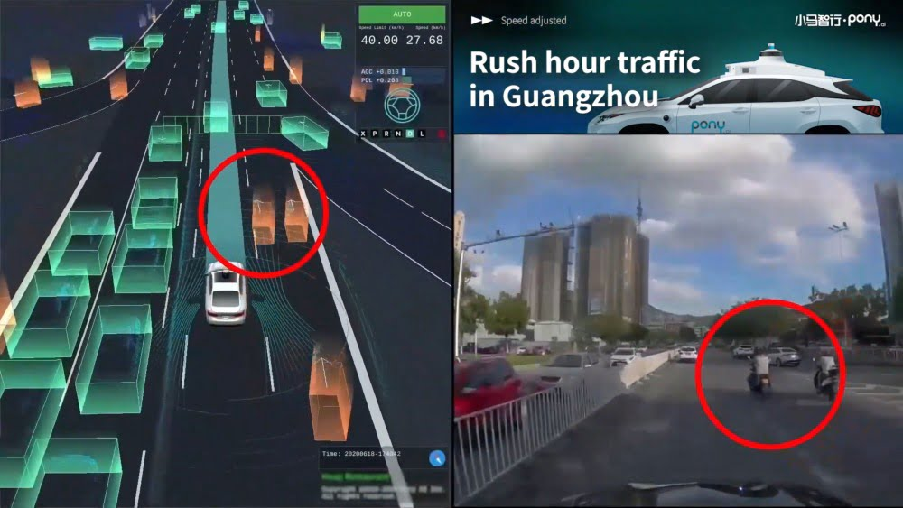 Eine Fahrt eines autonomen Fahrsystems von Pony.ai im Vergleich: Links die Visualisierung des Systems, rechts die realen Kamerabilder der Fahrt.
