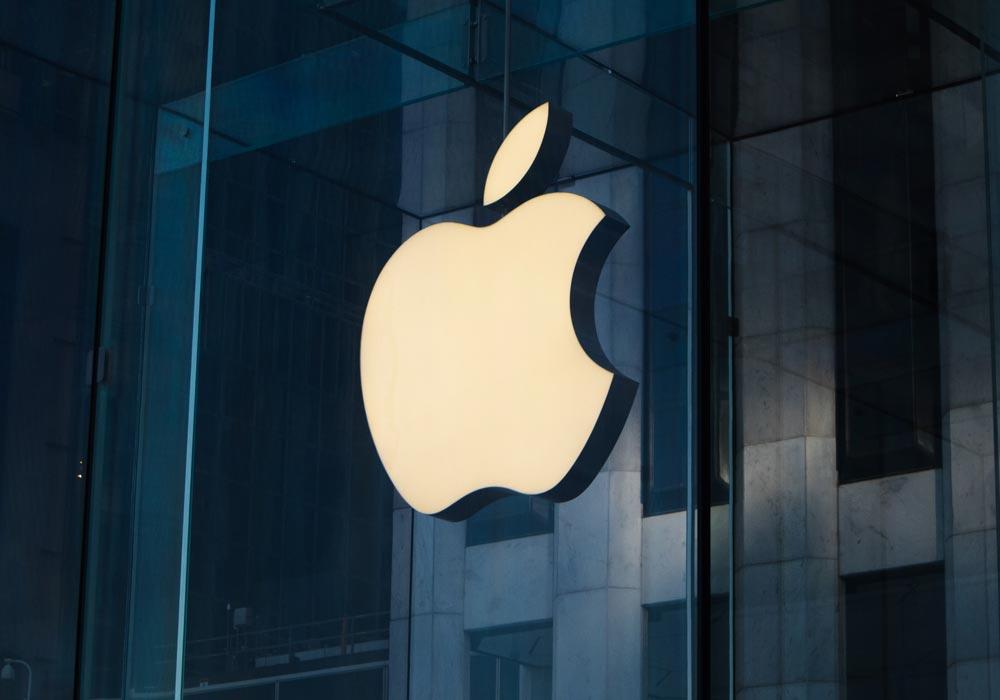 Das Apple Logo auf einem Apple Store. Ein angebissener Apfel.